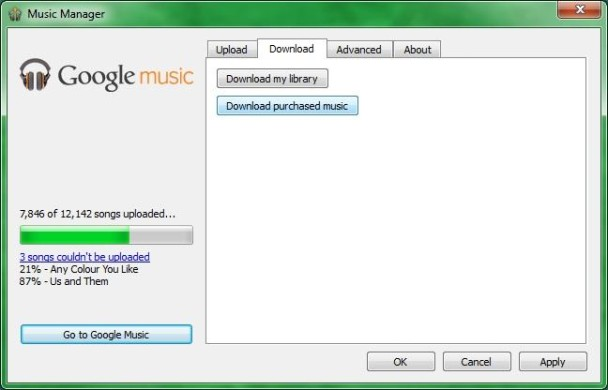 Google Play Music Manager app on Windows