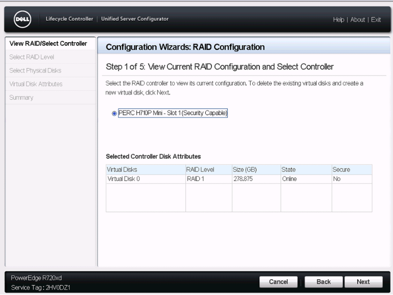Configuring the RAID volume in Dell Lifecycle Controller.