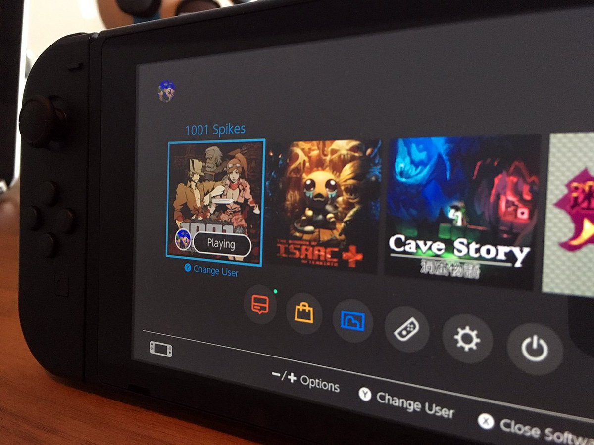 Nintendo Switch home screen with dark theme