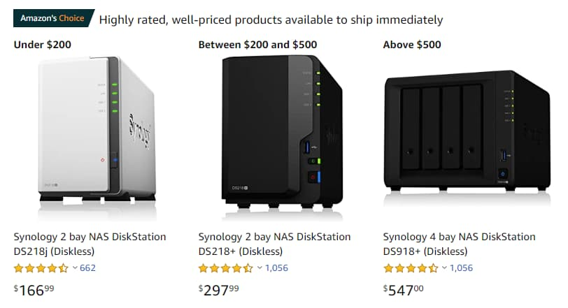 Synology DiskStation devices listing on Amazon