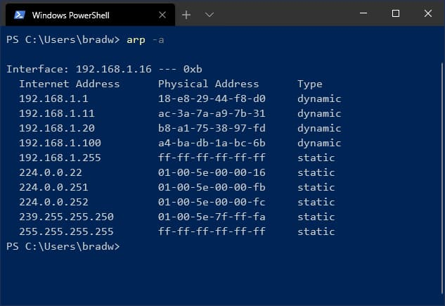 Output of the ARP command on Windows.