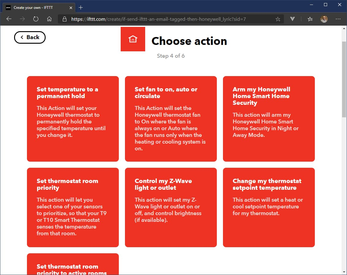The Honeywell Home actions that IFTTT supports.