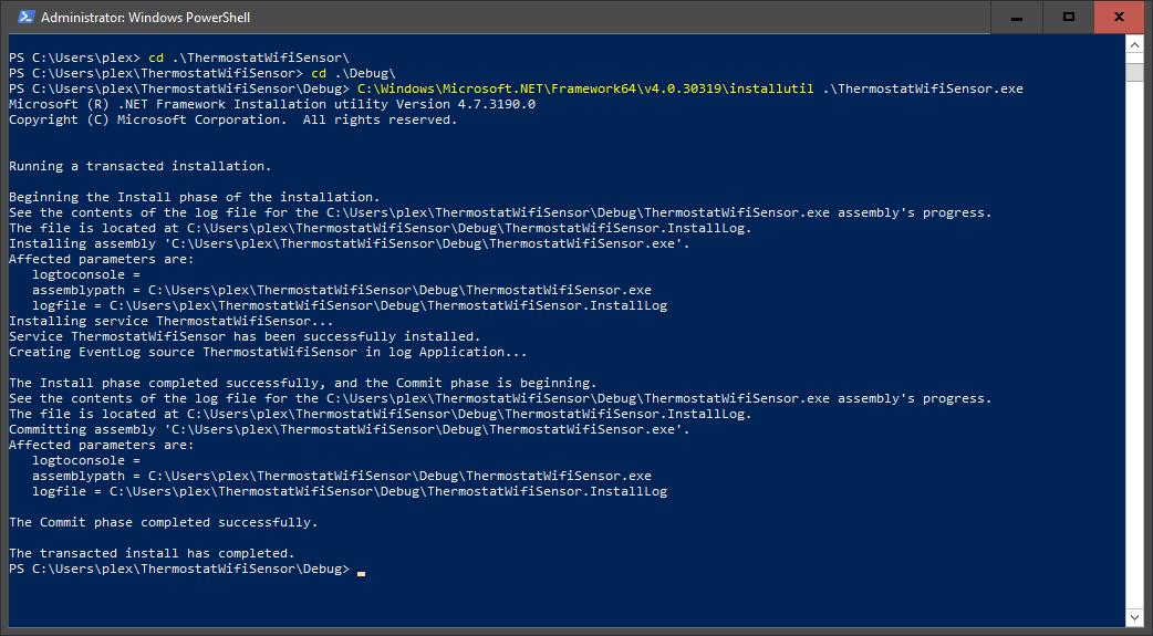 Installing the Windows Service.